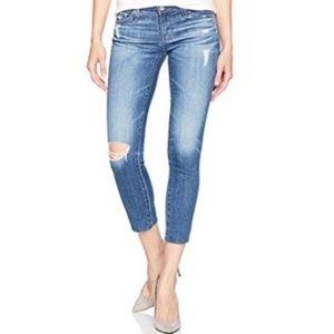 AG stilt cigarette crop distressed jeans